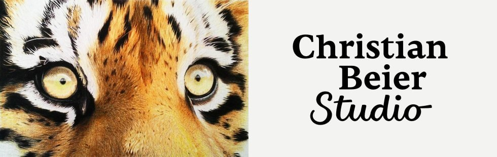 Eyes of the Tiger (colored pencil Canson Aquarelle paper by Christian Beier, 2016), and the logotype I designed for his studio.